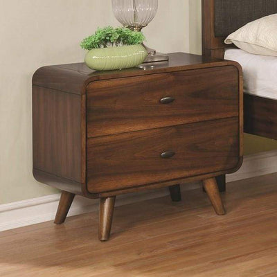 Wooden Nightstand with 2 Drawers, Dark Walnut Brown