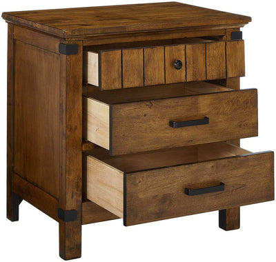 Wooden Nightstand with 3 Drawers Warm Honey Brown CCA-205262