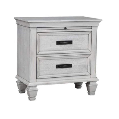 Wooden Nightstand with 2 Drawers & 1 Pull-Out Tray, White