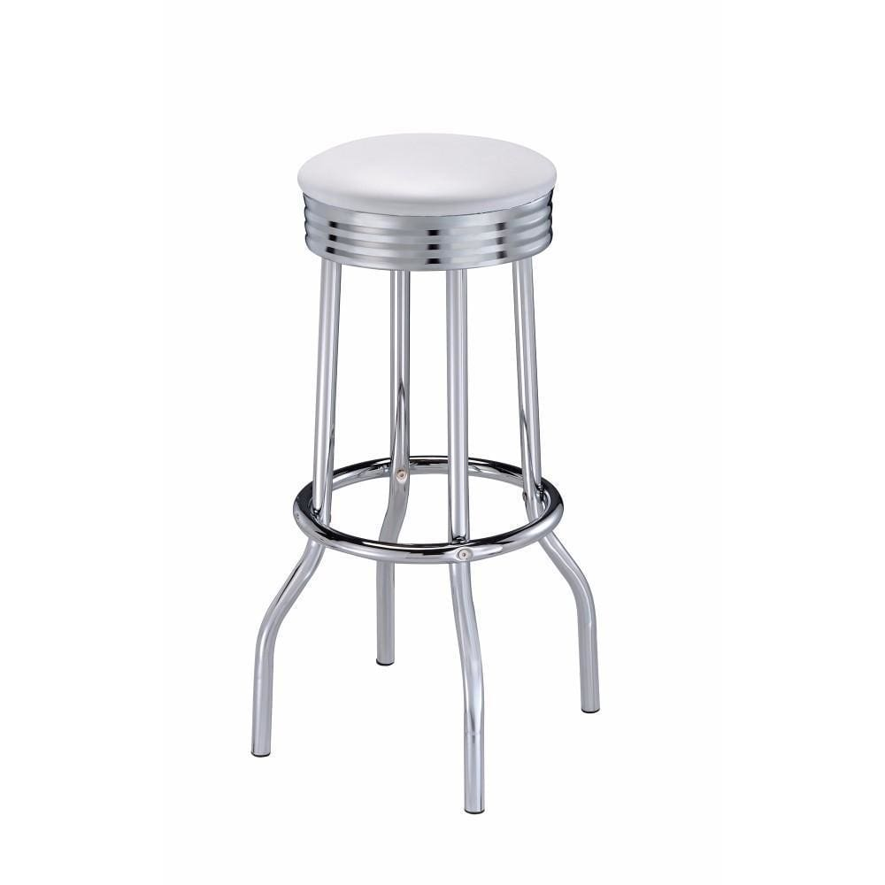 Metal Retro Ribbed Bar stool, Silver ,Set of 2