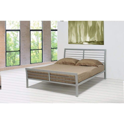 Transitional Style Queen Size Metal Bed, Silver