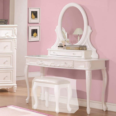 Wooden Vanity Desk with Carved Detailing, White