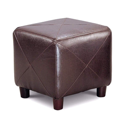 Contemporary Leather Cube Ottoman Dark Brown CCA-500124