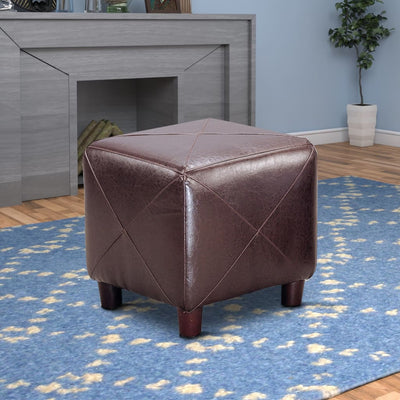 Contemporary Leather Cube Ottoman, Dark Brown