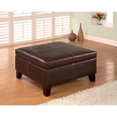 Leatherette Wooden Square Ottoman with Hidden Storage, Dark Brown