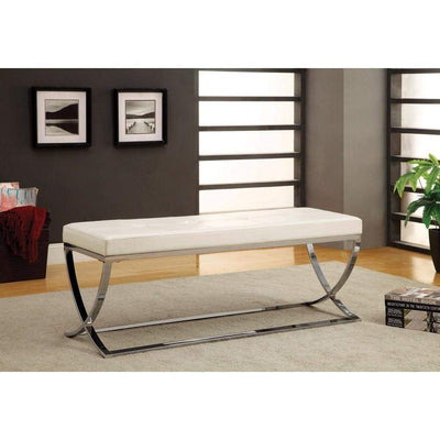 Modernly Charming Bench, White