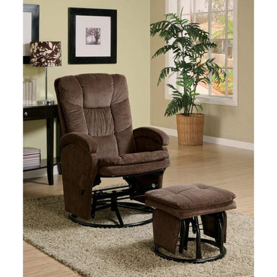 Extra Relaxing Glider Chair With Ottoman, Chocolate