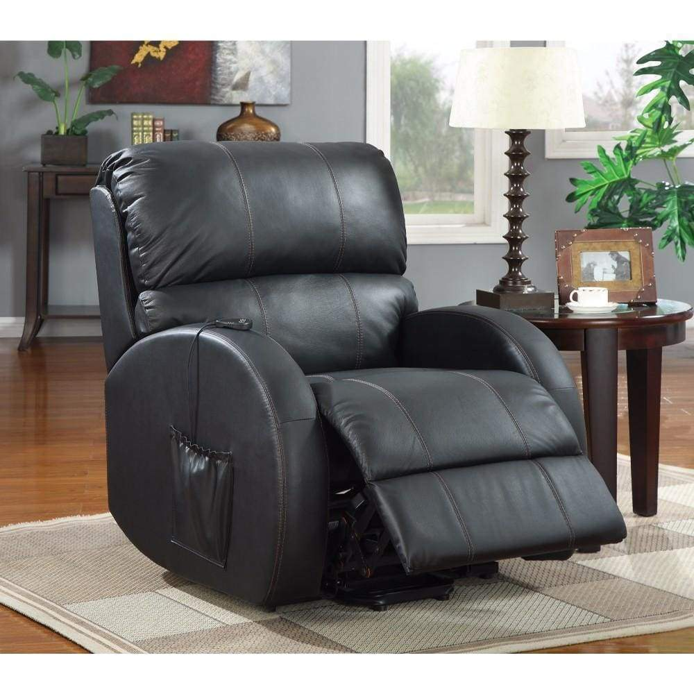 Black Leatherette Power Lift Recliner Awesome