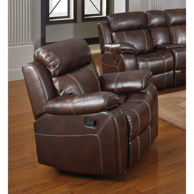 Upholstered Manual Glider Recliner, Brown By Coaster