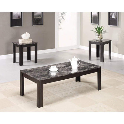 Impressive 3 piece occasional table set with marble top, black