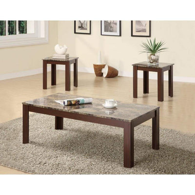 Solid Modern Style 3 piece occasional table set, Brown