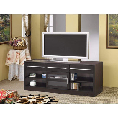 Stylish TV Console with CONNECT-IT Power Drawer-RTA, Brown