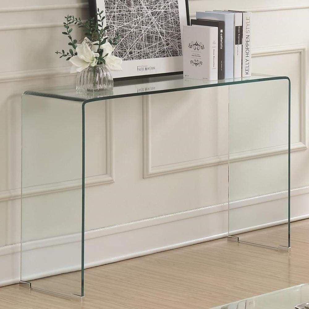 Contemporary Style Minimal Clear Glass Sofa Table, Clear - 705329