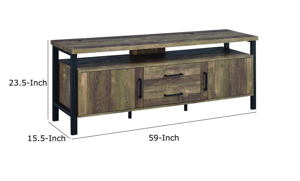 Industrial Design 58 Inch Wooden TV Console with Metal Legs and Open Shelf Storage, Brown - 722562