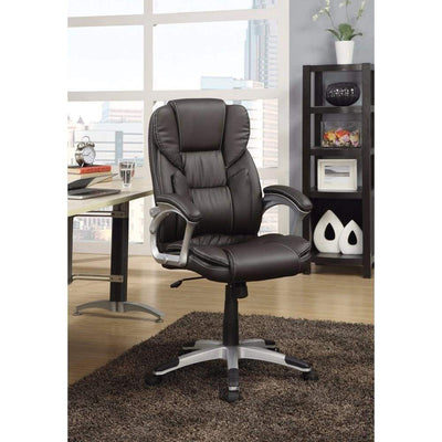 Executive High-Back Leather Chair, Dark Brown