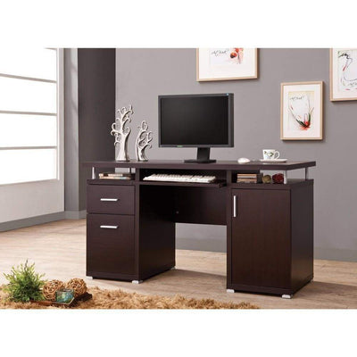 Luxurious Computer Desk with 2 Drawers and  Cabinet, Brown