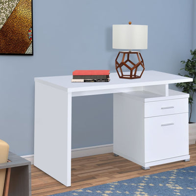 Modern Desk with Drawer and File Cabinet, White By Coaster