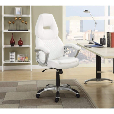 Leather, Sporty Executive High-Back Office Chair, White