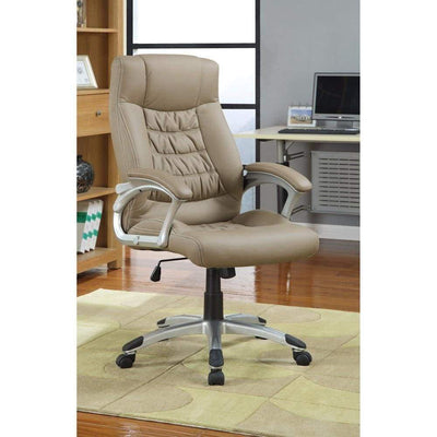 Leather Faced Executive High-Back Chair, Beige