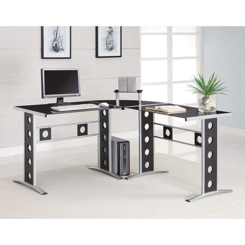 2-Tier Desk Black/Clear by Lumisource