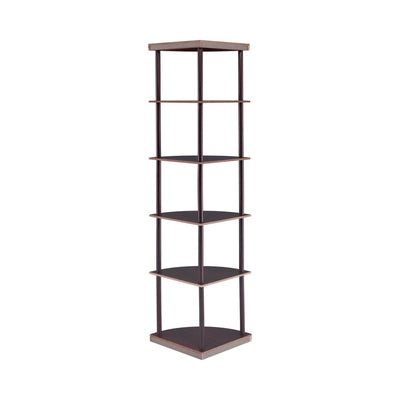 Illuminating corner bookcase with five pie-shaped shelves Brown CCA-800279
