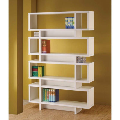 Tremendous white bookcase with open shelves