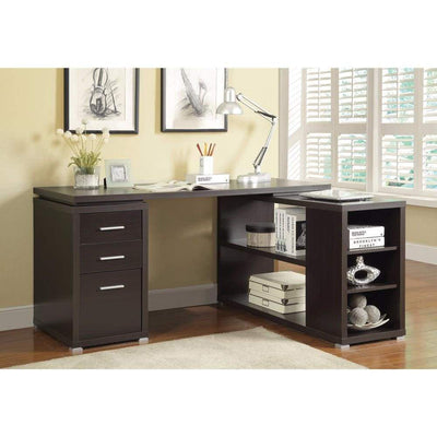 Contemporary Style Wooden Office Desk, Brown