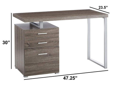 Modish Office Desk with File Drawer Gray CCA-800520