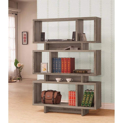Well-Made Contemporary Open Bookcase, Gray
