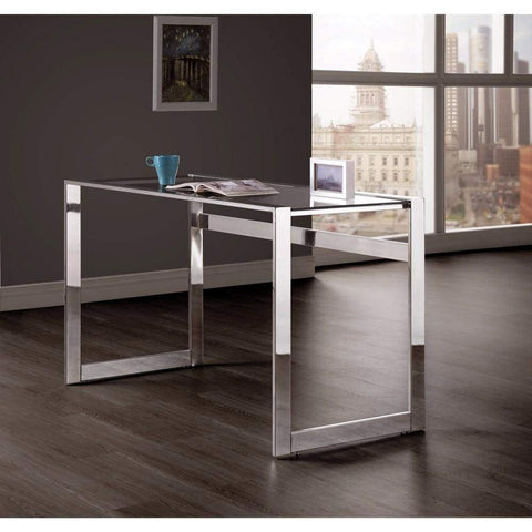 Elegantly Charmed Metal Writing Desk, Silver
