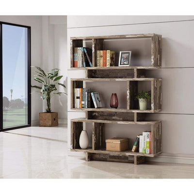 Rustically Charmed Wooden Open Bookcase, Brown