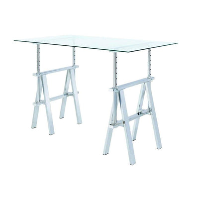Adjustable Writing Desk with Sawhorse Legs Clear And Silver CCA-800900