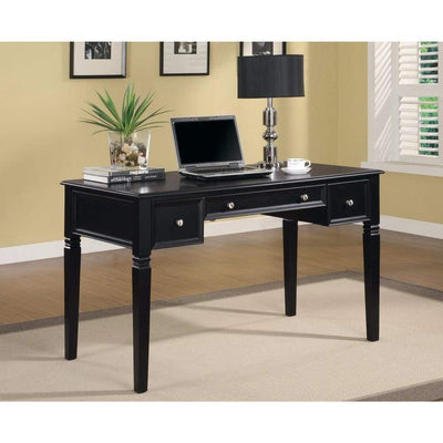 Classic Wooden Writing Desk with Keyboard Drawer, Black