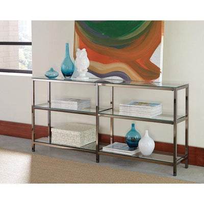 Industrial Metal Bookcase with Glass Shelves, Silver