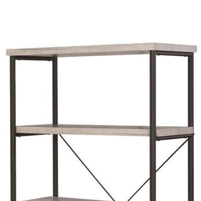 Sophisticated Wood And Metal Open Bookcase Gray CCA-801546