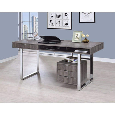 Elegant Contemporary Style Wooden Writing Desk, Gray