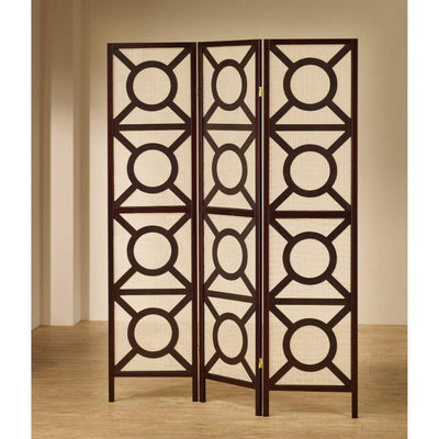 Modern Circle Patterned Wooden Folding Screen, Brown