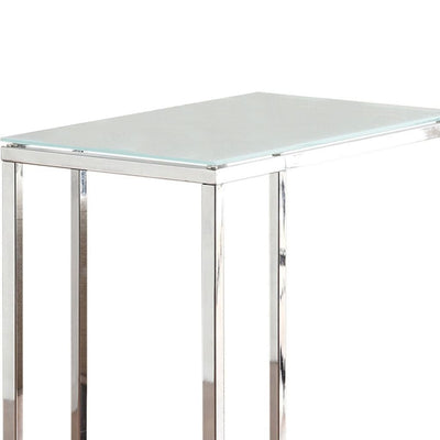 Metal Snack Table with Frosted Tempered Glass Top Clear And Silver CCA-900250