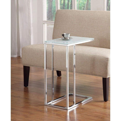 Metal Snack Table with Frosted Tempered Glass Top, Clear And Silver