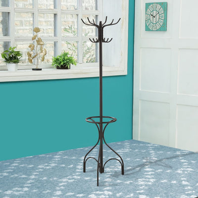 Metal Coat Rack With Umbrella Stand, Black By Coaster