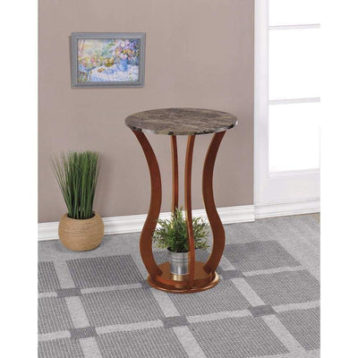 Transitional Wooden Plant Stand With Faux Marble Top, Brown By Coaster
