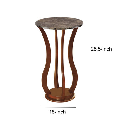 Transitional Wooden Plant Stand With Faux Marble Top Brown By Coaster CCA-900926