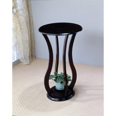 Contemporary Plant Stand With Bottom Storage Shelf, Brown By Coaster