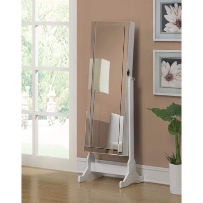 Jewelry Cheval Mirror With Interior Storage , White By Coaster
