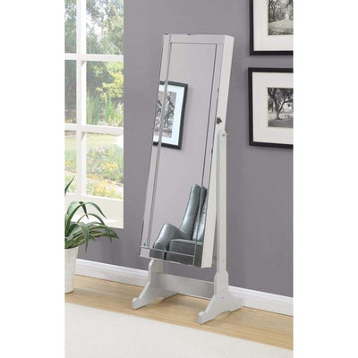 Beautiful  Jewelry Cheval Mirror  With Interior Storage, Gray By Coaster