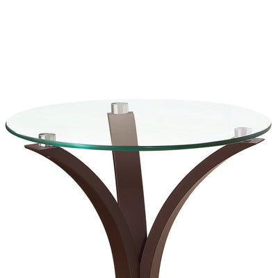 Contemporary Metal Accent Table With Glass Top Brown And Clear By Coaster CCA-902867
