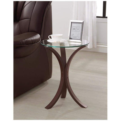 Contemporary Metal Accent Table With Glass Top, Brown And Clear By Coaster