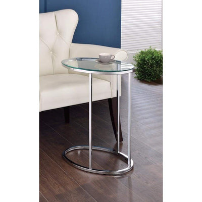 Stylish Oval Shaped Metal Snack Table With Glass Top, Silver By Coaster