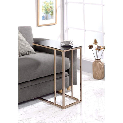 Elegant Black Glass Top Snack Table With Chrome Legs By Coaster