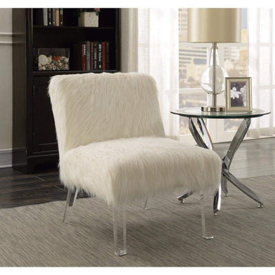 Attractively Accent Chair With Fur, White